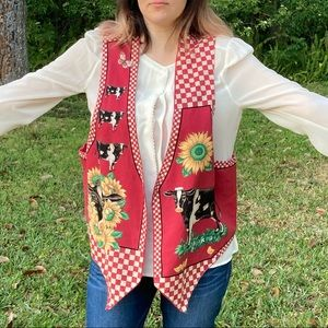 Vintage reversible cow and sunflower vest